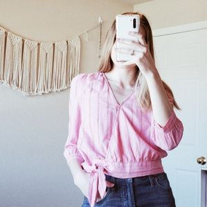 MADEWELL Pink Striped V Neck Wrap Blouse sz XXS